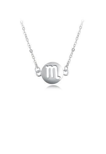 Glamorousky silver Fashion Simple Scorpio Round Necklace 6E501AC06A7285GS_1