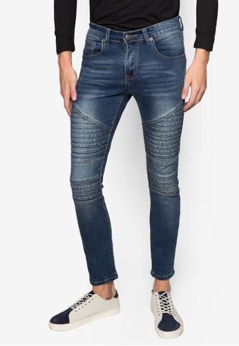層次拼接窄管牛仔褲,esprit tw 服飾, 服飾