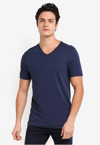 Topman navy Khaki Slim V Neck T-Shirt 7A56CAA9DFEC06GS_1