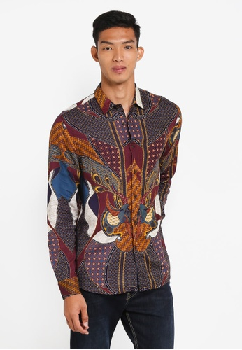 Topman red Burgundy Baroque Long Sleeve Shirt BD7EAAA7D8F727GS_1