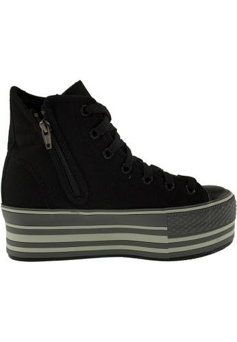 Maxstar Maxstar Women's C57 7 Holes Zipper Line Platform Canvas High Top Sneakers US Women Size MA164SH99PYESG_1