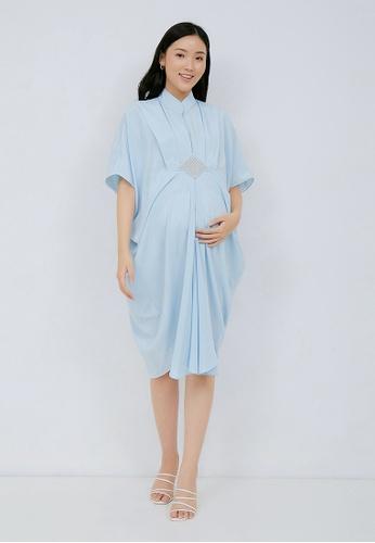 Chantilly blue 2-in-1 Maternity/Nursing Kaftan LBL F6A8EAACD68897GS_1