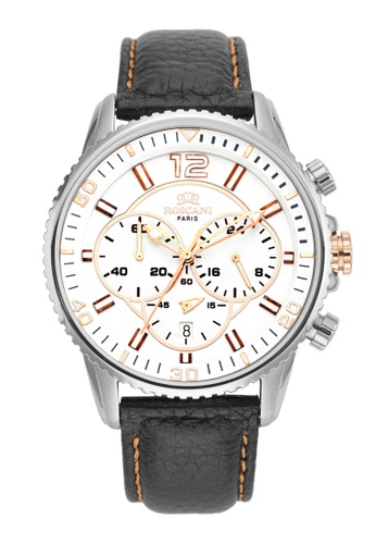 Roscani silver Roscani Cole 968 (Chronograph + WR 10ATM) Stainless Steel Yellow Leather Men Watch FF203AC05B7882GS_1