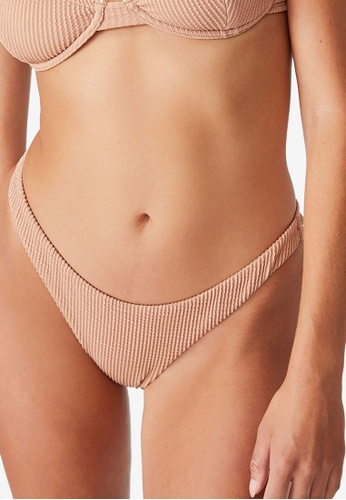 Cotton On Body brown Gathered Bum Brazilian Bikini Bottom ED73AUSEF60139GS_1