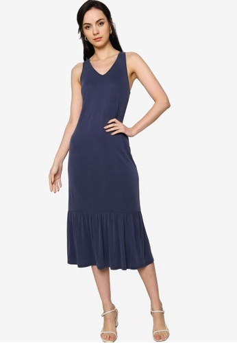Origin by Zalora navy Ruffle Hem Dress made from TENCEL™ ACF84AA2AF72DCGS_1