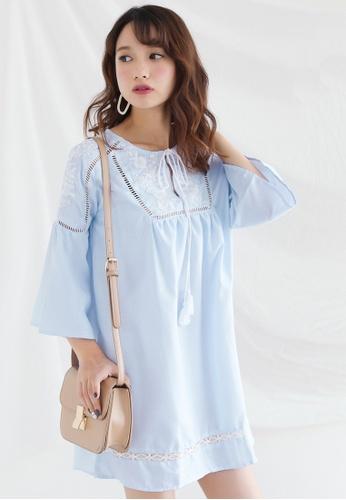 Shopsfashion blue Boho Embroidered Mini Dress SH656AA0FZYWSG_1