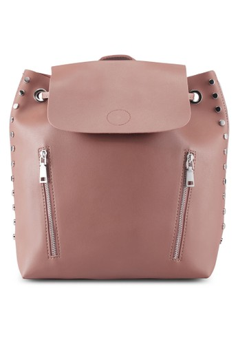 ZALORA pink Medium Size Backpack With Stud Detail A685DACE8ECAE8GS_1