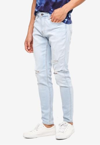Hollister 藍色 緊身刷破牛仔褲 F8526AA2A0D70AGS_1
