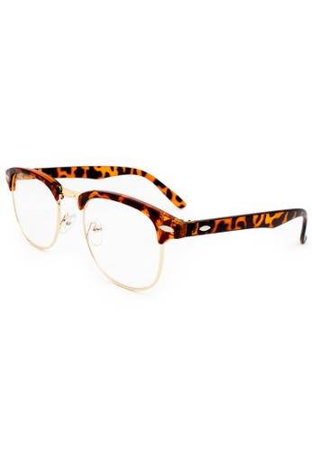 2ff4461123 Buy Elitrend Unisex Half Frame Designer Glasses in Leopard Brown Online on  ZALORA Singapore