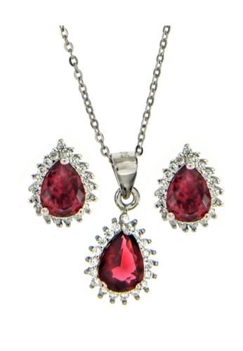 Silverworks red Teardrop Earrings and Neckalce Set SI696AC91TBSPH_1