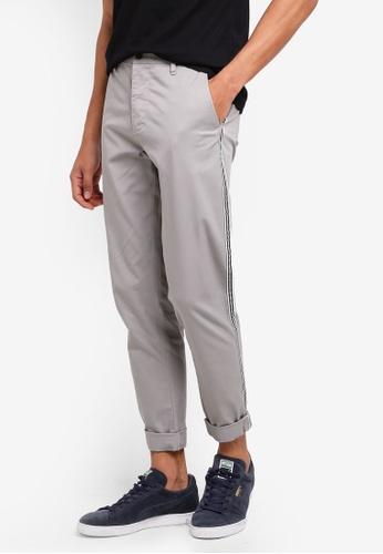 ESPRIT 灰色 休閒條紋滾邊長褲 D22B3AA0D89A78GS_1