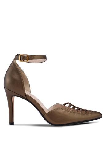 ZALORA 金色 尖頭繞踝高跟鞋 26B79SH6B4C105GS_1