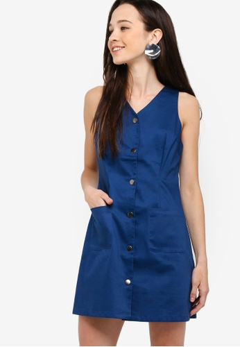 Something Borrowed navy Button Down Twill Dress 7152AAAE98DAD2GS_1