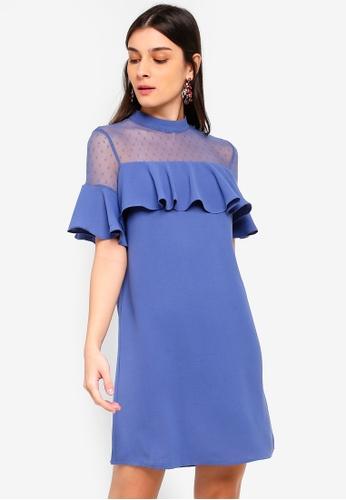 ZALORA 藍色 網眼荷葉飾洋裝 49F21AACD79C3EGS_1