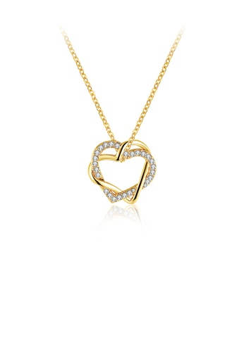 Glamorousky white Simple and Romantic Plated Gold Double Heart Pendant with Austrian Element Crystal and Necklace 05991AC5213E6FGS_1