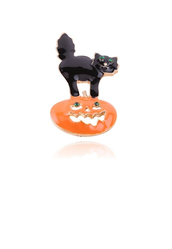 Glamorousky green Fashion Creative Halloween Pumpkin Cat Brooch with Cubic Zirconia 6ECEFACF17CEA7GS_1