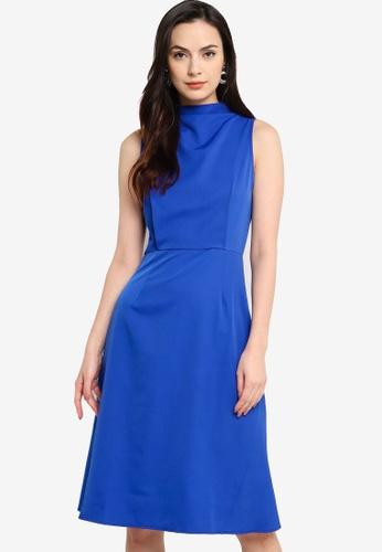 ZALORA WORK blue High Neck Knee Length Dress 9E7C6AAA95990AGS_1