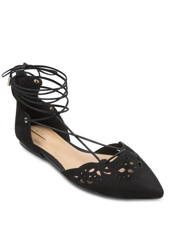 Harmony 雕aldo門市花尖頭繞踝平底鞋, 女鞋, 鞋