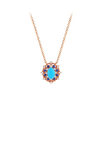 Glamorousky green 925 Sterling Silver Plated Rose Gold Fashion and Elegant Geometric Turquoise Pendant with Cubic Zirconia and Necklace A715DAC4CC2076GS_1