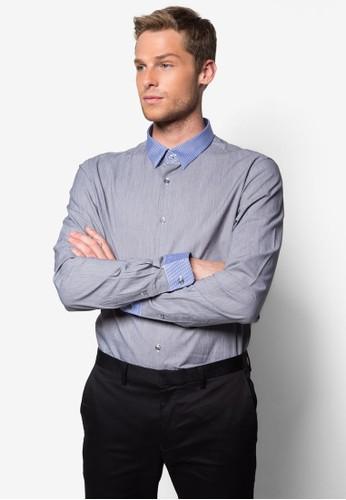 撞色條紋領口長袖襯衫, 服esprit台灣網頁飾, 襯衫