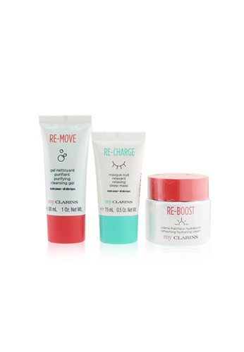 CLARINS CLARINS - My Clarins The Essentials Set: Re-Boost Hydrating Cream 50ml+ Re-Move Cleansing Gel 30ml+ Re-Charge Sleep Mask 15ml 3pcs 62D69BEF56FC52GS_1