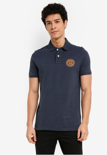 Abercrombie & Fitch navy Vintage Brand Polo Shirt C320BAAF7745D9GS_1