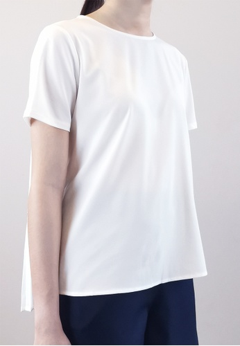SUB white Women Back Pleated Blouse 0B613AADF0D5C8GS_1