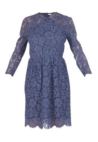 Carven 藍色 二手 carven 海軍藍蕾絲連衣裙 8A275AA429AA8CGS_1