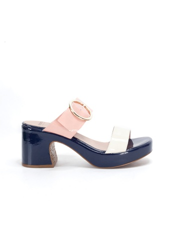 Shu Talk multi WONDERS Retro Buckle Comfy Slip on Sandal Heels 182D0SHB992C43GS_1