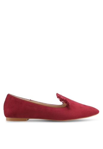 ZALORA red Fringed Detail Loafers 8B2E4SHE452F8BGS_1
