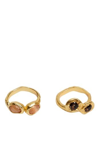 Mango gold 2 Stone Rings Set FB304AC5A7F290GS_1