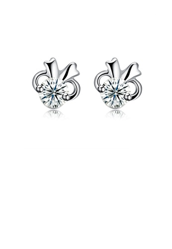Glamorousky white 925 Sterling Silver Simple Mini Elegant Cute Rabbit Ear Studs and Earrings with Cubic Zircon 9E397AC2DA7986GS_1