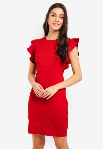 260058b03d45 Shop ZALORA Ruffles Sleeves Semi Formal Dress Online on ZALORA Philippines