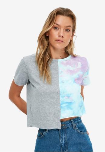 Trendyol blue Asymmetric Crop T-Shirt 3C404AA159A6B3GS_1