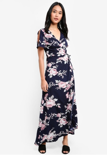 Something Borrowed blue Slit Sleeve Wrap Maxi Dress 50CD4AA657786BGS_1