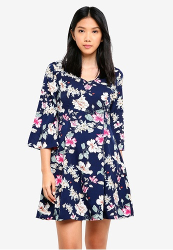 ZALORA multi and navy V Neck Fitted A Line Dress F6ABDAA6CA2642GS_1