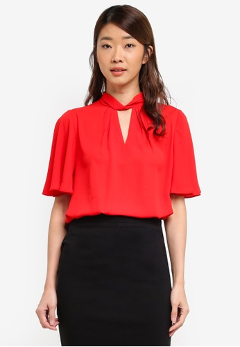 Dorothy Perkins red Red Twist Neck Flutter Top BB35FAA8AD178FGS_1