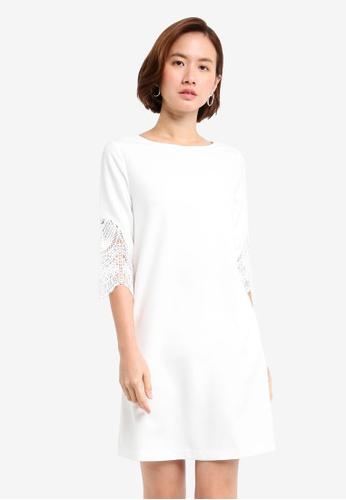 ZALORA white Lace Insert Panel Dress DC99BAAC5D3DE0GS_1