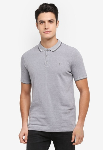Burton Menswear London grey Grey Two-Tone Pique Polo Shirt 19F64AAEC01B36GS_1