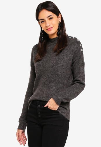 Vero Moda grey Lagoura Pearl Highneck Sweater 28C4EAAA040A5CGS_1