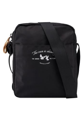Bagstationz black Lightweight Travel Sling Bag 79BB3ACF8D613CGS_1