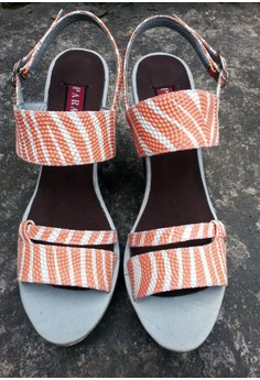 Paragon Cecille Wedge Sandals (in Striped Peach)