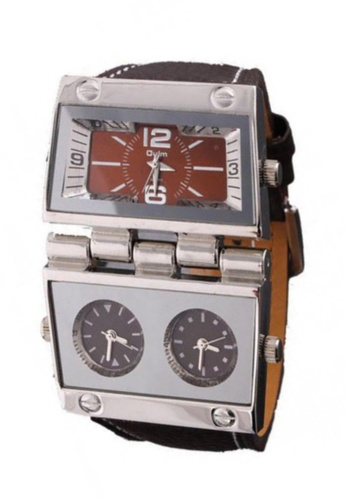 Fashion by Latest Gadget brown and silver OULM Multi Dial Time Zone Luxury Leather Sport Quartz Watch LA499AC54TKJPH_1