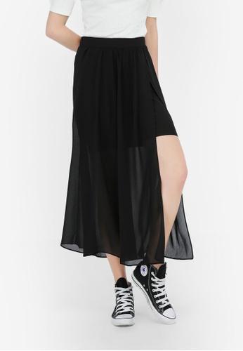 Hopeshow black Long Sheer Skirt 6444BAA0D71681GS_1