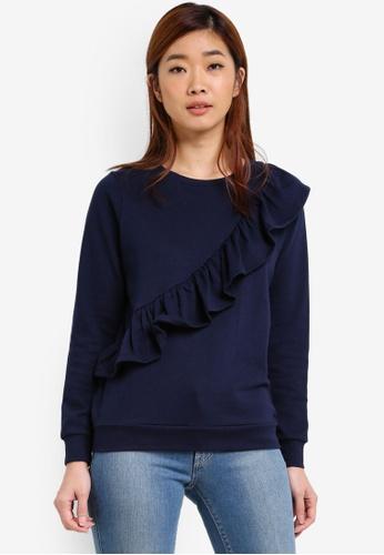 Dorothy Perkins navy Frill Front Sweatshirt DO816AA0RY1VMY_1