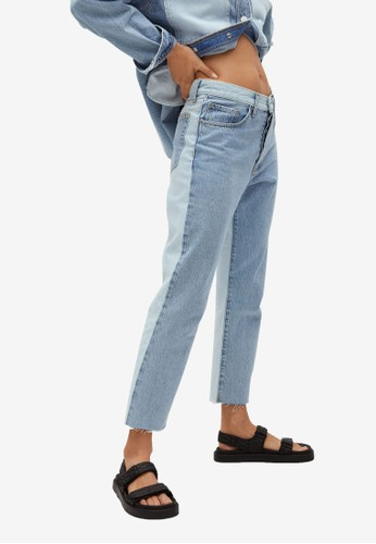 Mango blue Straight-Fit Cropped Jeans EE355AA39EBACAGS_1