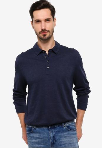 BOSS navy T-Pointer 09 Long Sleeve Polo Shirt - BOSS Men E550FAADDE24A1GS_1