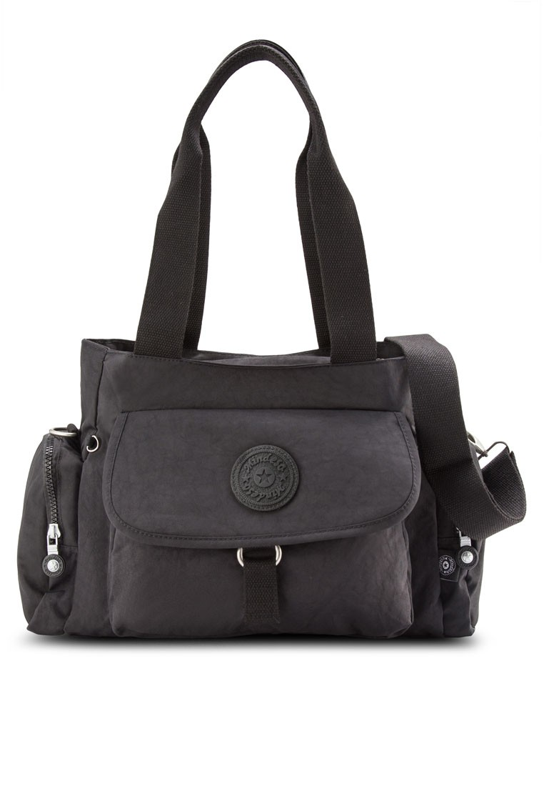 MDS Crinkled Nylon Fabric Convertible Shoulder Bag