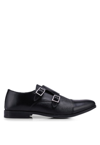 Burton Menswear London black Black Leather Monk Shoes With A Toe Cap E0456SHB02C5DDGS_1