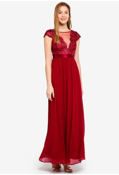 1aeb8e2dd1c Goddiva red Embroidered Bodice Maxi Dress With Cap Sleeves  7BFBBAA0B1B456GS 1